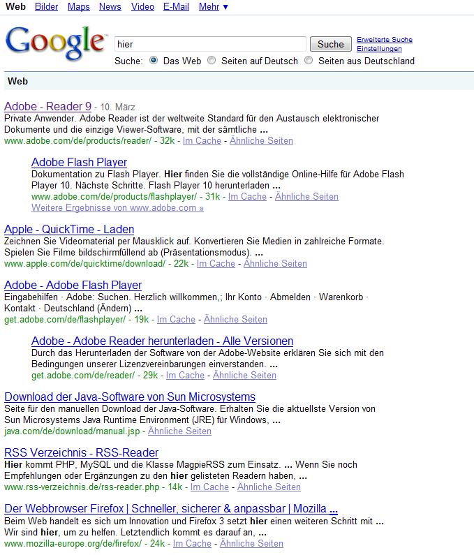 """Google Suche nach """"hier"""""""